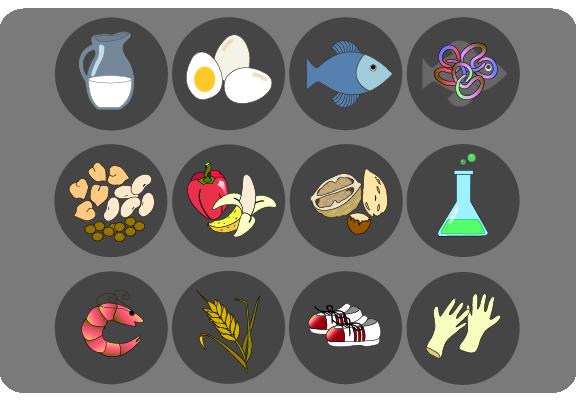Iconos que representan los alergenos causantes de las principales alergias