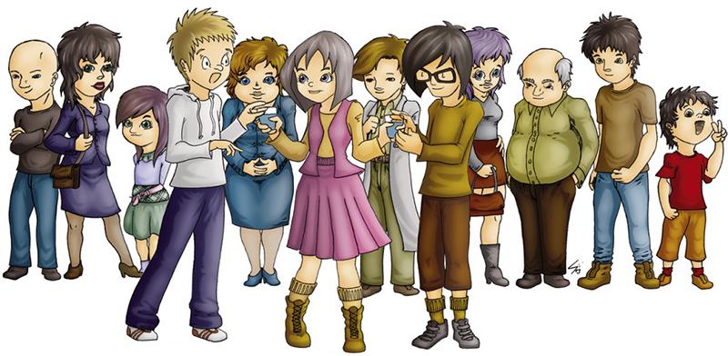 Dibujo: grupo de personas.