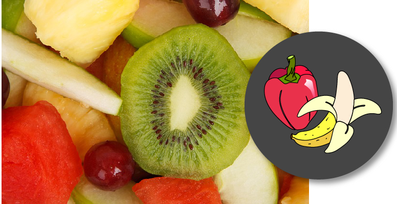 Portada con icono e imagen de frutas y verduras