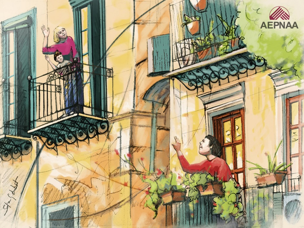 Saludos entre personas desde los balcones